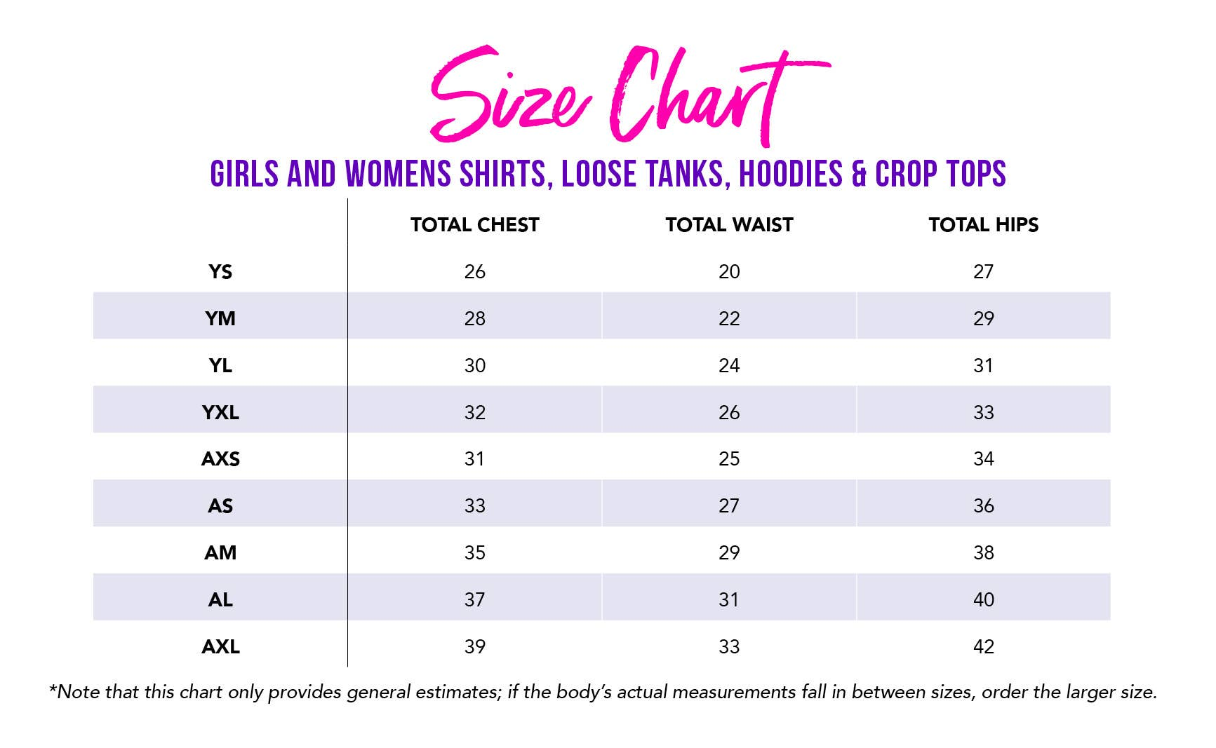 Girls and Women's Shirt Size Chart