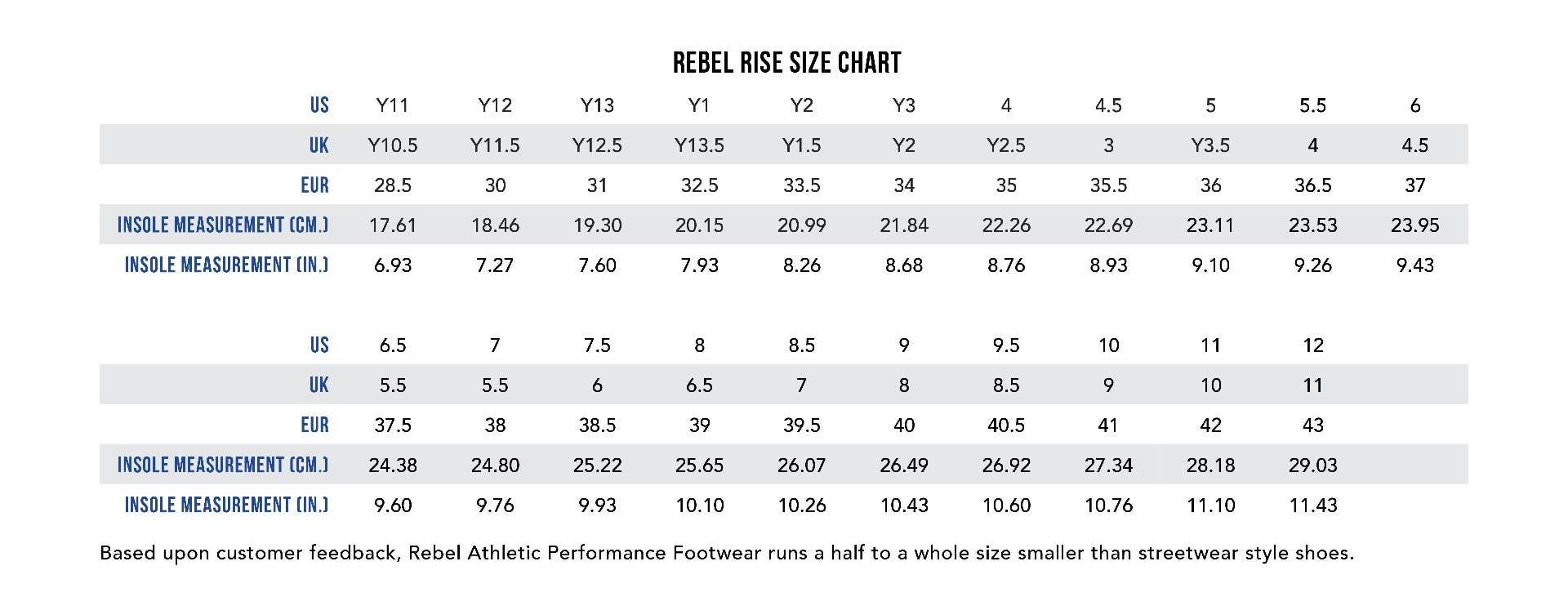Rise Size Chart