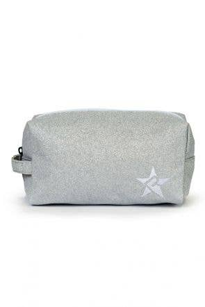 grey makeup bag called Opalescent Makeup Bag with White Zipper by Rebel Athletic