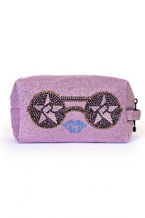 Sugar Plum Makeup Bag with Sunglasses - crystal makeup bag