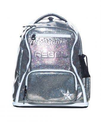 shiny silver backpack