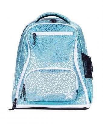 teal leopard backpack