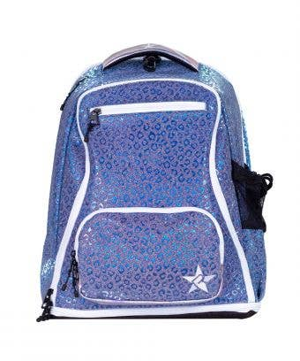 blue backpack with leopard print