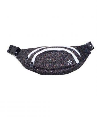 black glitter fanny pack called Adult Rebel Fanny Pack in Jet by Rebel Athletic