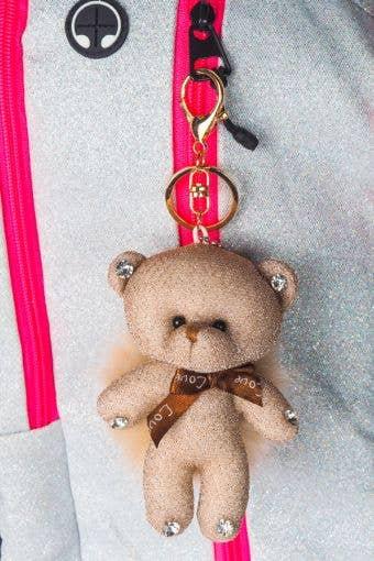 Beige Bear Poof Keychain - Rebel Athletic - Beige Bear Keychain