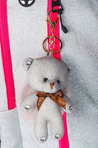 Light Grey Bear Poof Keychain - Stuffed Teddy Bear Keychain Grey