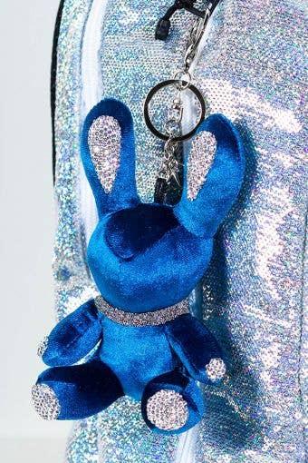 Rebel Level Replica Bunny Keychain in Blue - Cute Blue Bunny Keychain