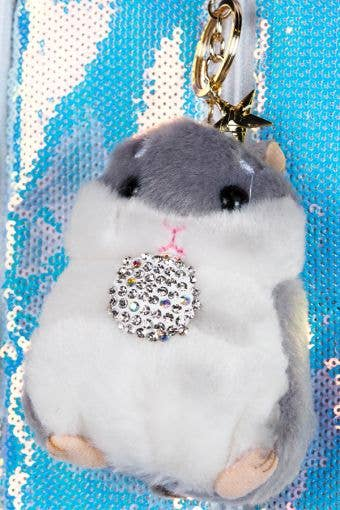 Hamster with Crystal Ball Keychain in Gray