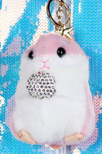 Hamster with Crystal Ball Keychain in Pink