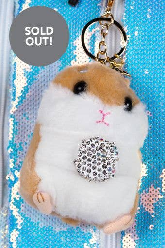 Hamster with Crystal Ball Keychain in Tan