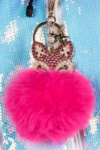 Fox Fluff Keychain in Pink