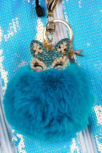 Fox Fluff Keychain in Turquoise