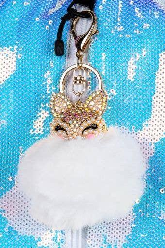 Fox Fluff Keychain in White