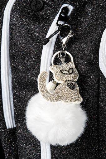Crystal Kitty Poof Ball Keychain