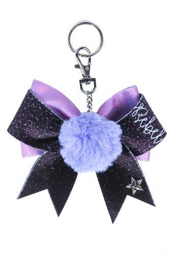 Rebel Bow Keychain with Purple Poof - FINAL SALE