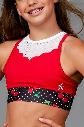 Poppy Sports Bra in Cherries - Girls