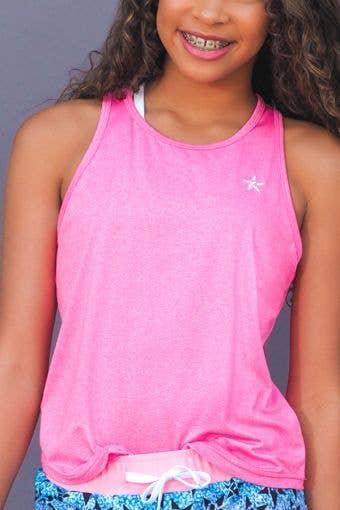 Layer & Lounge Tank in Pink HeatherFlex - Girls