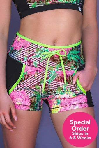 Crystal Couture Floral Crush Compression Short - Special Order