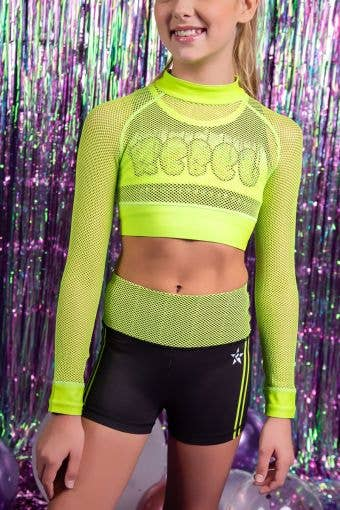 Athletic Mesh Long Sleeve Crop in Electric Green - Girls