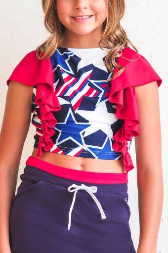 Maria Cropped Tank in Stars and Stripes - Girls - FINAL SALE