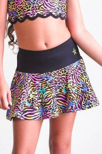 Mid-Rise Flouncy Skirt in Black Wild - Girls - FINAL SALE