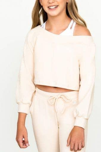 Unwind Pullover in Cream - Girls