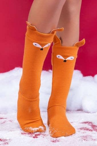 Festive Fox Knee High Socks - Girls