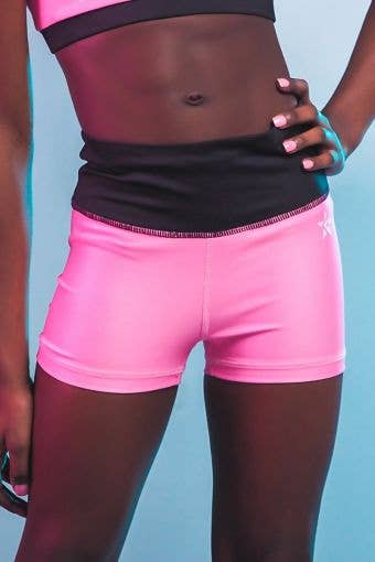 High Rise Compression Short in Pink and Black - Girls