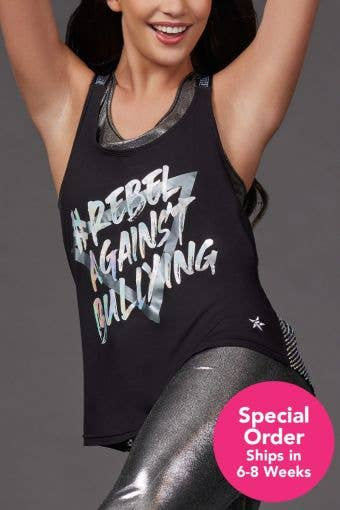 Mesh Crystal Couture Rebel Against Bullying Sports Strap Tank - Special Order