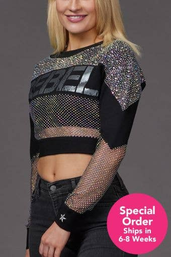 Mesh Crystal Couture Cropped Pullover - Special Order