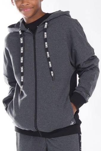 Zip Up Hoodie in Black