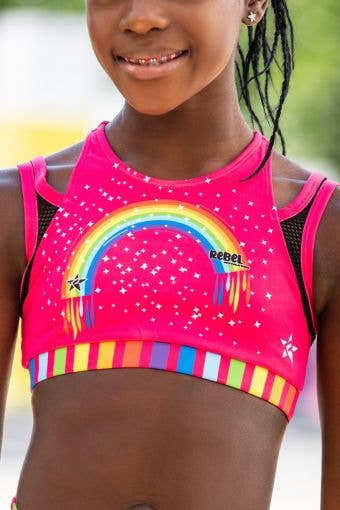 Evelyn Sports Bra in Pink Rainbow