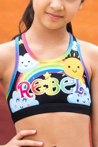 Lottie Sports Bra in Black Rainbow - Girls