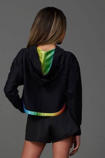 Relaxed Hoodie in Black Rainbow