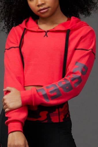 Open Back Cropped Hoodie in Red Hot