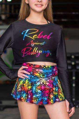 Rebel Against Bullying Cropped Long Sleeve Top in Rainbow Allure - Girls
