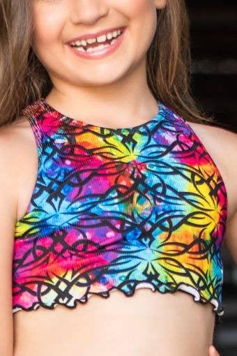 Ivy Sports Bra in Rainbow Allure - Girls