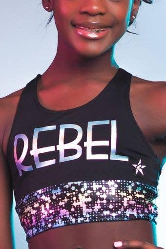 Jamila Long Line Sports Bra in Techno Foil - Girls