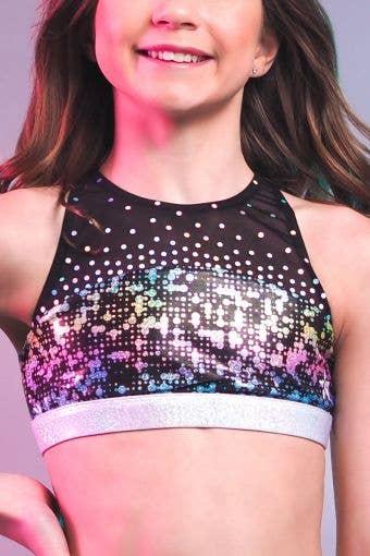 Laurel Sports Bra in Techno Foil - Girls