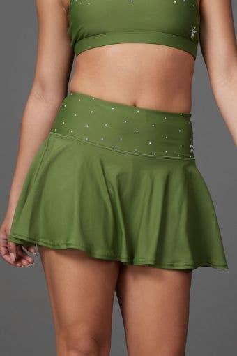 Legendary Flouncy Skirt in Army Green Crystal