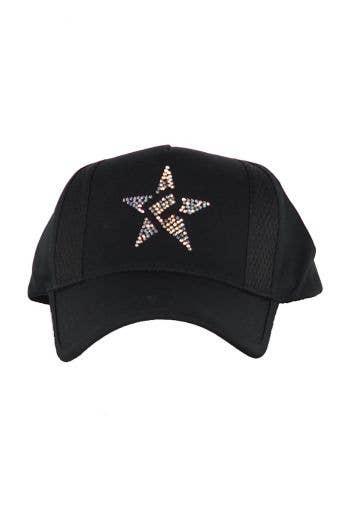 Rebel Mark Crystal Hat in Black