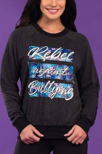 Rebel Against Bullying Pullover in Floral Palm