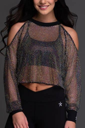 Mesh Crystal Couture Cold Shoulder Pullover - Special Order