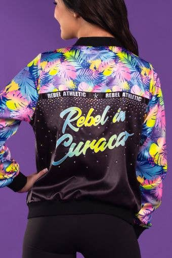 Rebel in Curacao Bomber Jacket in Neon Palms