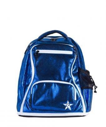 royal blue mini backpack, the cutest shiny blue mini suede cheer bag