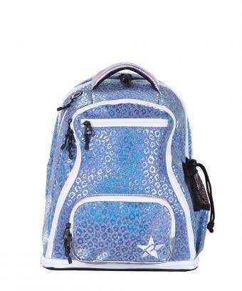 Steel Blue Leopard Rebel Baby Dream Bag with White Zipper