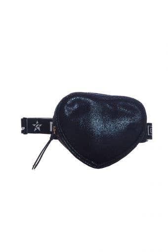 cute black fanny pack called Adult Black Faux Suede Heart Fanny Pack by Rebel Athletic