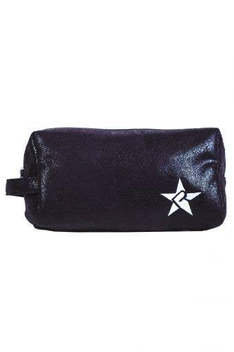 Black Faux Suede Makeup Bag with Black Zipper