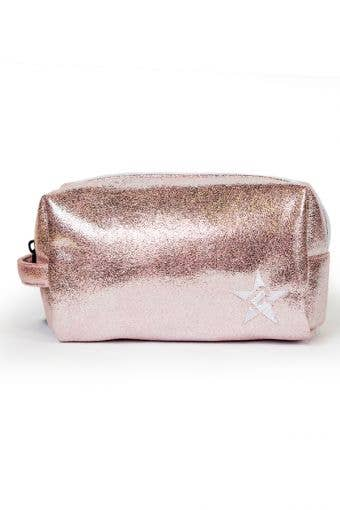 vegan makeup bag called Pink Champagne Faux Suede Makeup Bag - Rose Gold/White Zipper