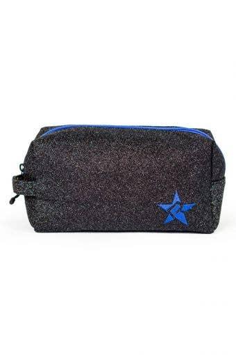black and blue makeup bag, called Imagine Makeup Bag with Blue Zipper by Rebel Athleti